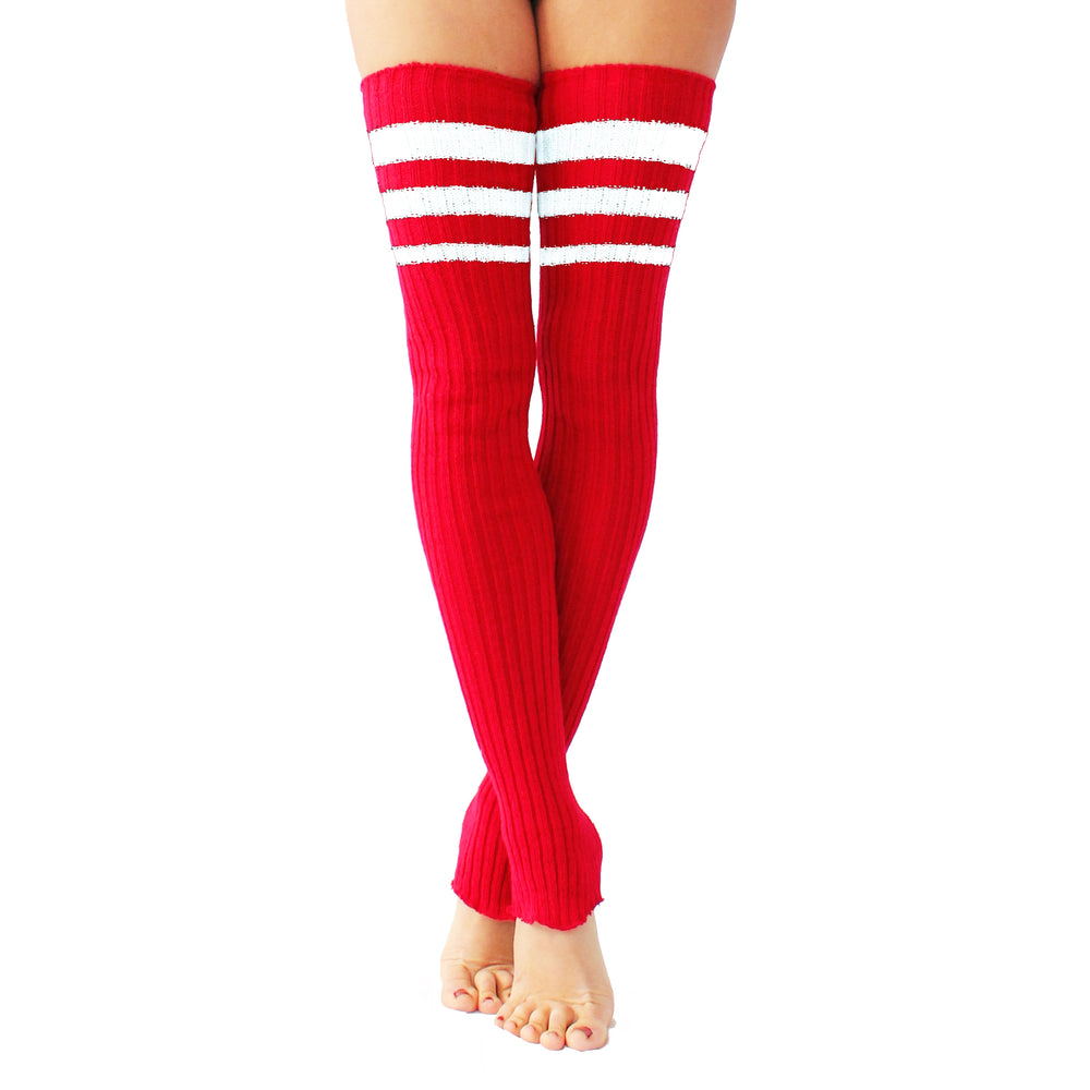 Wink - Striped Stirrup Leg Warmers Red with White Stripe