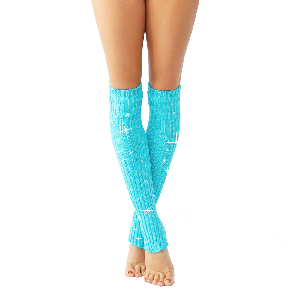 Wink - Sparkly Stirrup Leg Warmers Turquoise/Silver