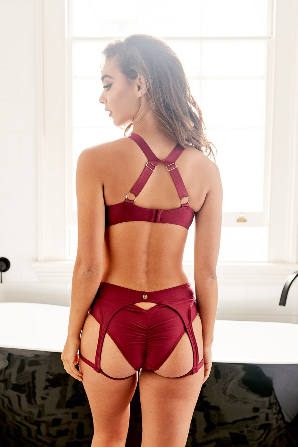 Zara Recycled Low Waisted Bottom Burgundy