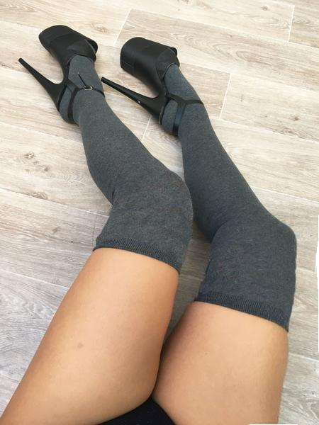 Thigh High Socks - Charcoal