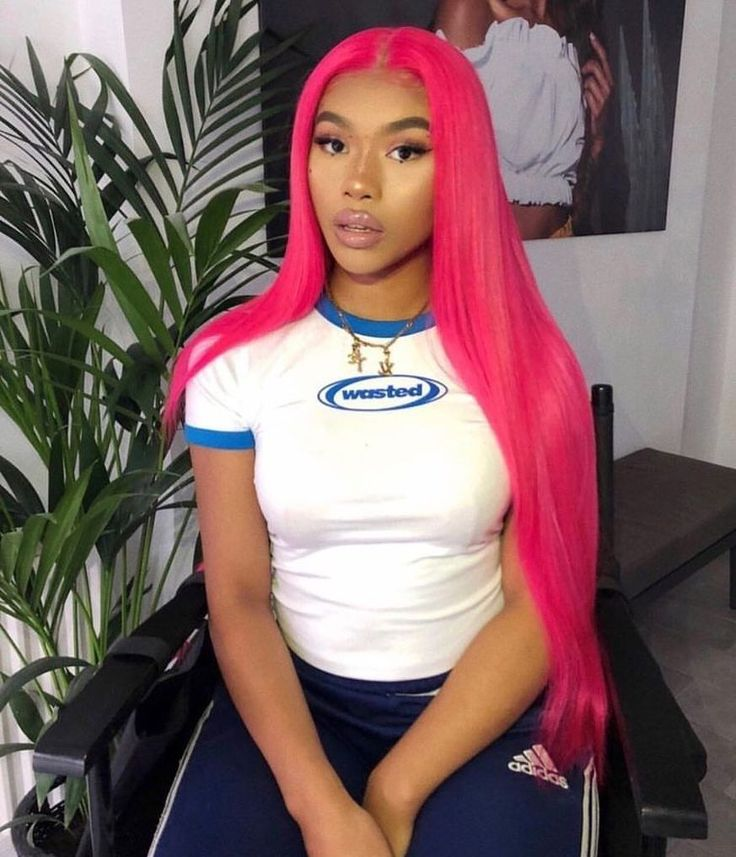 'KIARA' Hot Pink Silky Straight Remy Human Hair Wig