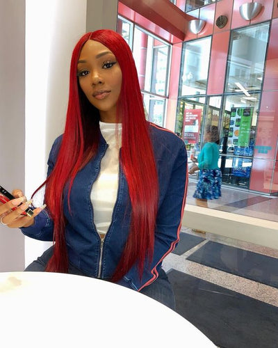AVA - Bright Red Human Hair Lace Front/ Full Lace Wig