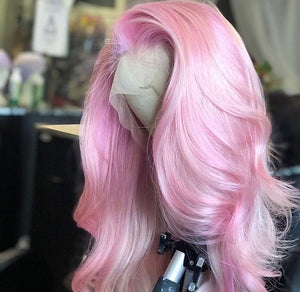 'VALENTINA' Pastel Pink Silky Straight Wig Remy Human Hair Wig