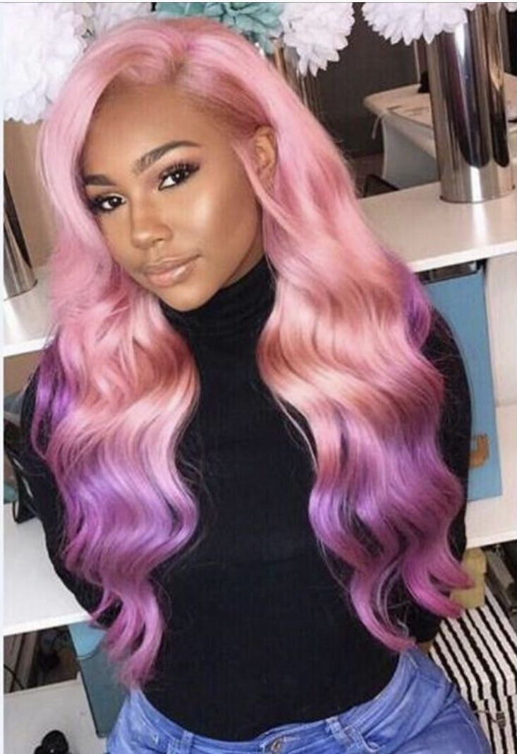 'GEORGIA' Pink to Purple Ombré Remy Human Hair Wig