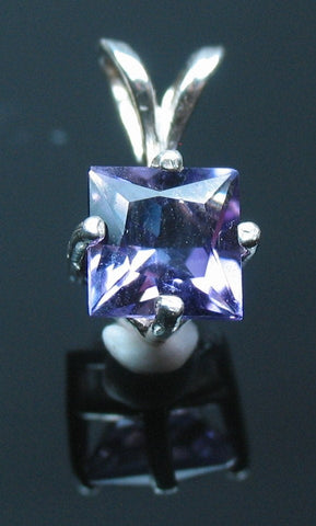 Solid Sterling Silver or Solid 14kt White or Yellow Gold 1.5ct Natural Amethyst 7mm Princess Cut Dangle Pendant Solitare VVS Eye Clean