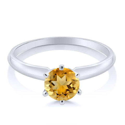 Solid 14kt White or Yellow Gold  Natural Golden Citrine 4mm Round Ring Size 5-8 Solitare VVS Eye Clean, Engagement, Wedding band, Bridal