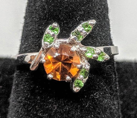 Solid Sterling Silver, Solid or Plated 14kt Gold Natural Citrine or Garnet Flower Cluster Ring with Tsavorite Garnet Accents, Custom Made