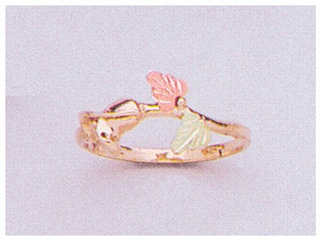 Solid 10kt Three Tone Gold Tea Rose with Red and Green Leaves Blank Ring Size 4-8 shank setting, Prospector Gold, 643-628