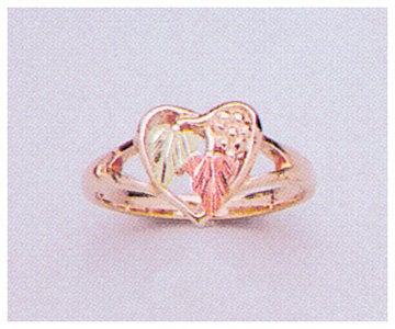 Solid 10kt Three Tone Gold Three Leaf Heart Blank Ring Size 4-8 shank setting, Prospector Gold, 643-611
