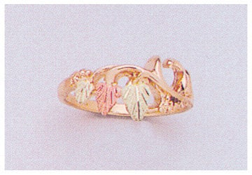 Solid 10kt Three Tone Gold Rose with Red and Green Leaves Blank Ring Size 4-8 shank setting, Prospector Gold, 643-633