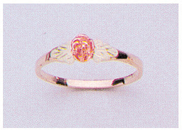Solid 10kt Three Tone Gold Red Rose with Green Leaves Blank Ring Size 4-8 shank setting, Prospector Gold, 643-626