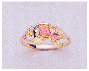 Solid 10kt Three Tone Gold Red Rose with Green Leaves Blank Ring Size 5-8 shank setting, Prospector Gold, 643-627