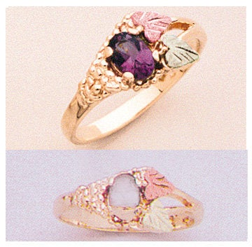 Solid 10kt Three Tone Leaf Ring, Natural Gemstone  Amethyst, Citrine, Peridot, Topaz Oval Promise Ring, Size 5-8 643-631