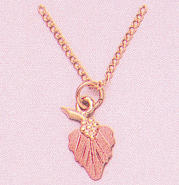 "Solid 10kt Three Tone, One Leaf Pendant, Red or Green Leaf, Includes 18"" Chain, 641-902/644-902"