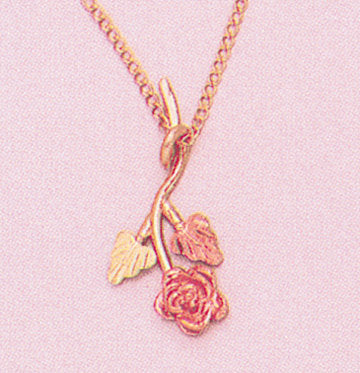 "Solid 10kt Three Tone, Stem Rose with Two Leaf Pendant, Red and Green Leaves, Includes 18"" Chain, 641-940/644-940"