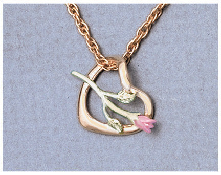 "Solid 10kt Three Tone, Weeping Heart with Rose Pendant, Red and Green Gold, Includes 18"" Chain, 641-950/644-950"
