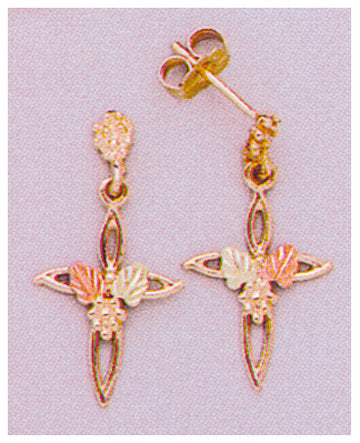 Solid 10kt Three Tone, Cross with Leaves Stud Dangle Earrings (1 Set), Red and Green Leaves, 642-434