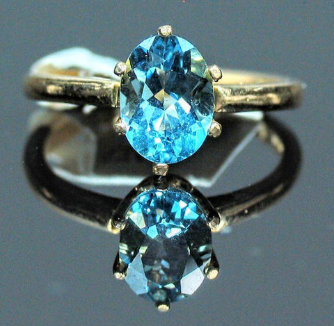 Solid Sterling Silver, Solid Yellow, White, or Rose 14kt Gold Natural Swiss Blue Topaz Ring, Solitaire Custom Made Ring Size 5-8 143-466