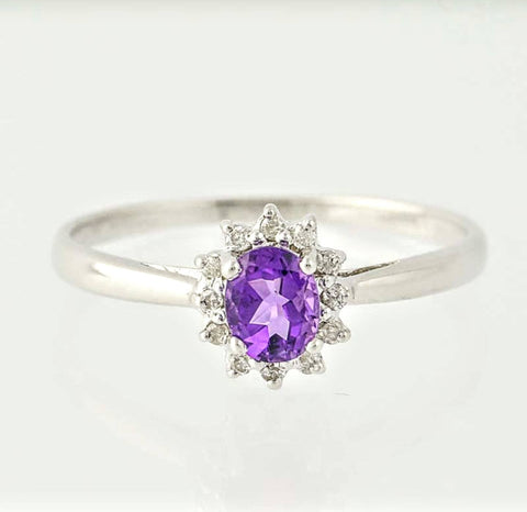 Solid Sterling Silver, Solid Yellow, White, or Rose 14kt Gold Natural Amethyst and White Sapphire Ring Custom Made Ring Size 5-8 143-051