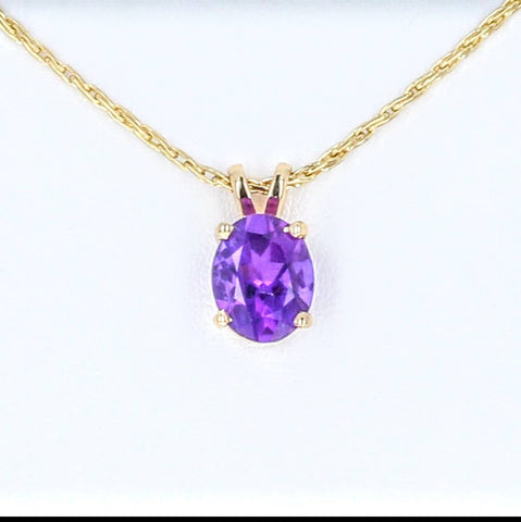 Solid White, Yellow, or Rose Gold Natural Amethyst Pendant with Solid Gold Chain, 7x5-14x10 Oval Cut, Dangle Pendant, Custom Made 141-010