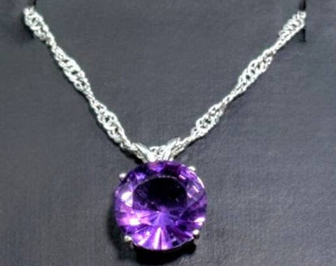 Solid Sterling Silver or Solid Gold Natural Amethyst Pendant with Chain, 7, 8, 9, or 10mm Round Cut, Dangle Pendant, Custom Made