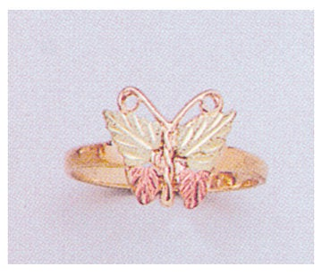 Solid 10kt Three Tone Gold Red and Green Butterfly with Leaves Blank Ring Size 5-8 shank setting, Prospector Gold, 643-637