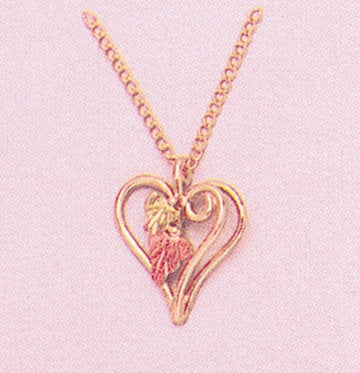 "Solid 10kt Three Tone, Heart Dangle with Two Leaf Pendant, Red and Green Leaves, Includes 18"" Chain, 641-917/644-917"
