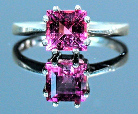 Solid Sterling Silver, Solid Yellow, White, or Rose 14kt Gold Natural Pink Tourmaline Ring, Square, Custom Made Ring Size 7, 163-845/143-845