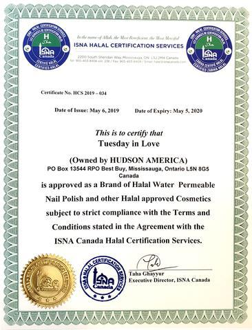 tuesday in love isna halal certificate