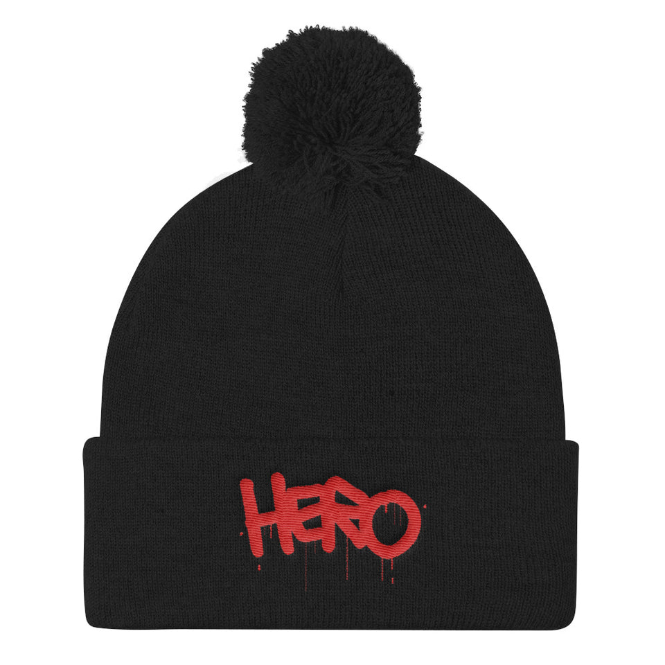 """Hero"" Pom Pom Knit Cap designed by Hero. - shop.designhero"
