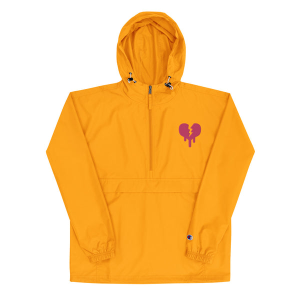 """Broken Heart"" Embroidered Champion Packable Jacket designed by Hero. - shop.designhero"