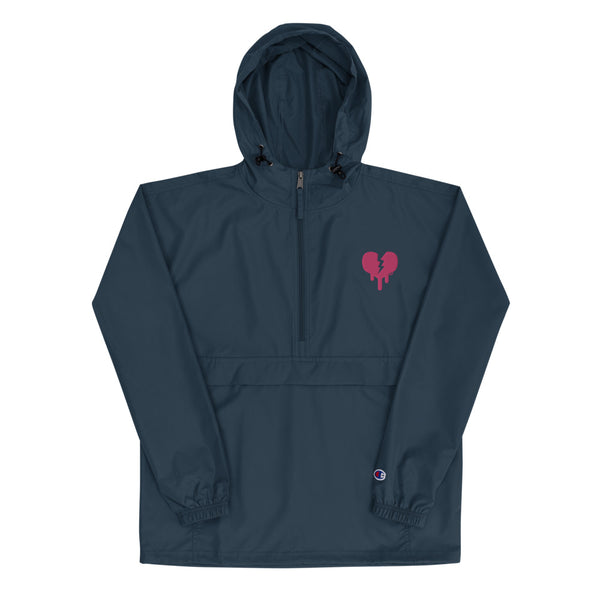 """Broken heart"" Embroidered Champion Packable Jacket design by Hero. - shop.designhero"