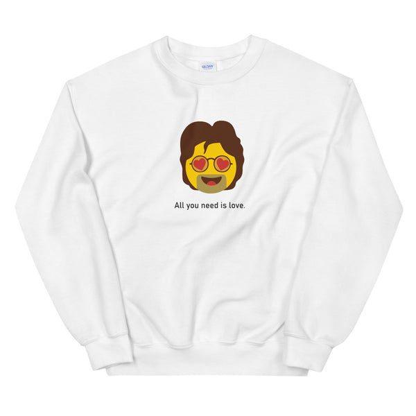 """All we need is love"" Unisex Emoji Sweatshirt - shop.designhero"
