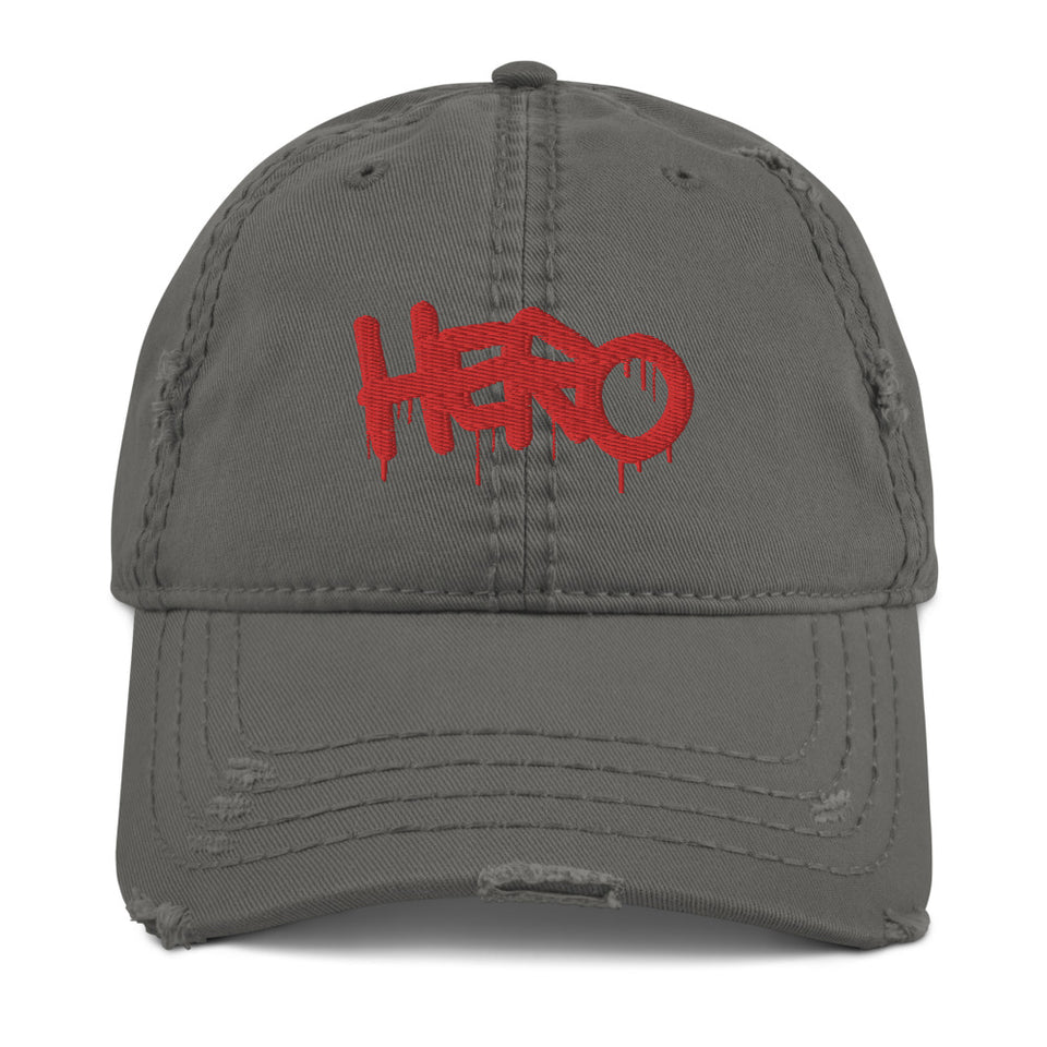 """Hero"" Distressed Dad Hat design by Hero. - shop.designhero"