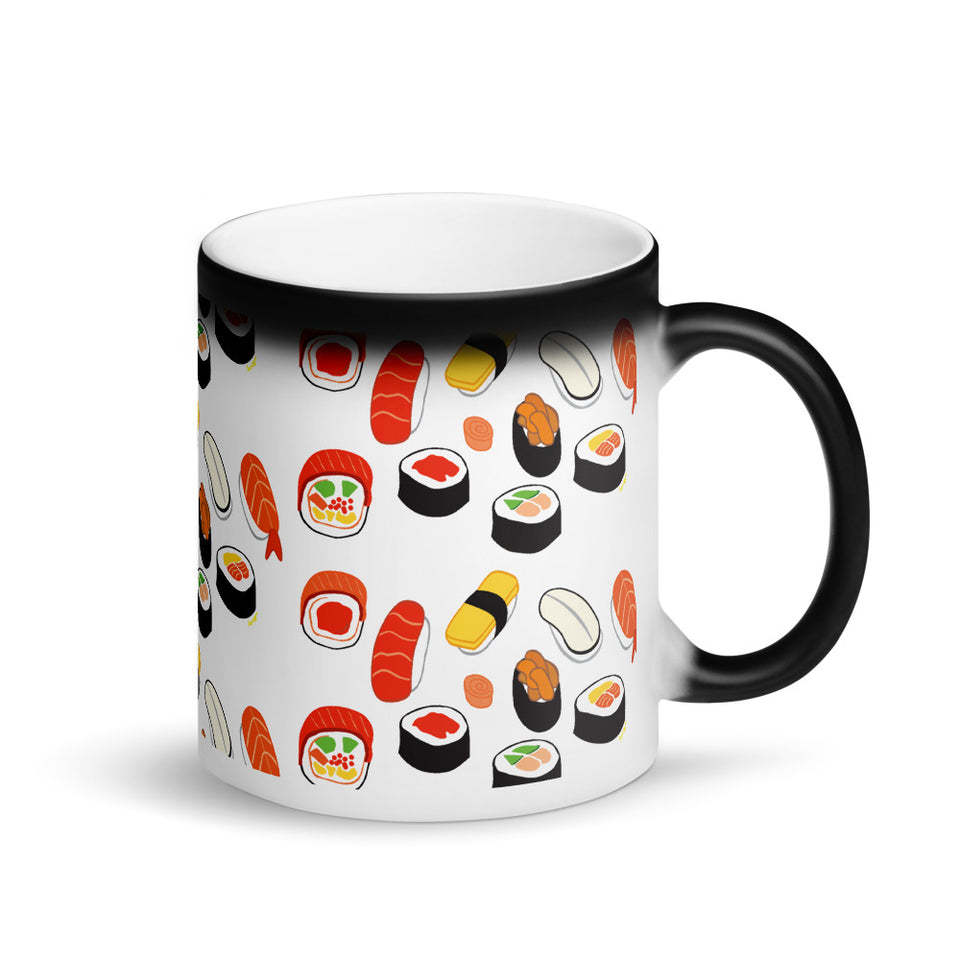 """I Love Sushis"" Matte Black Magic Mug design by Hero. - shop.designhero"