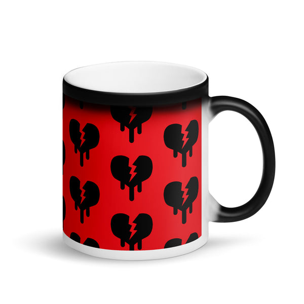 """Broken  Heart"" Matte Black Magic Mug design by Hero. - shop.designhero"