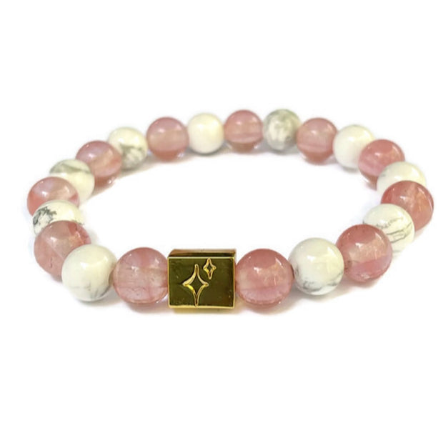 Pink and Marble Beaded Bracelet-Jackie and Laura's Design 1