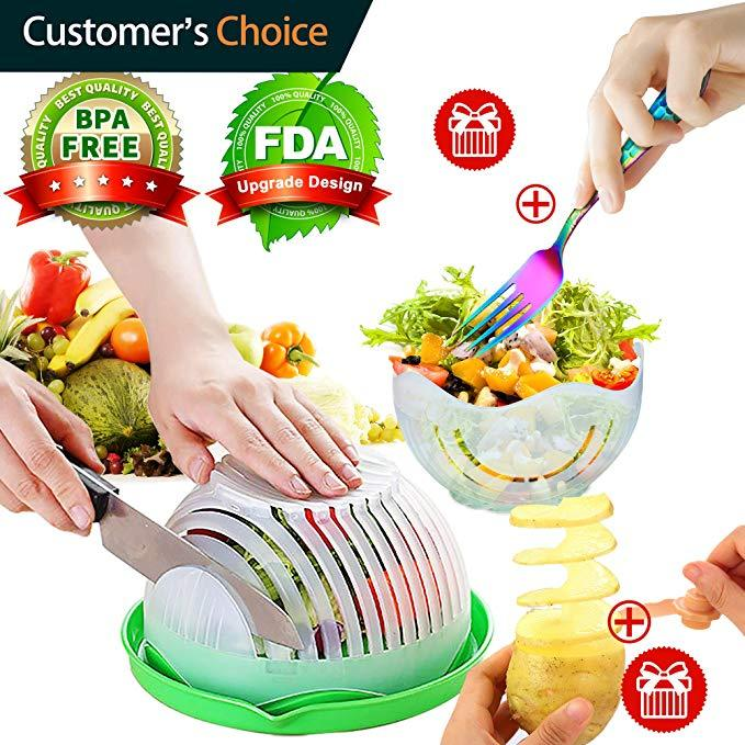 (50% OFF ONLY TODAY)NEW Salad Maker Bowl Cut Fruit Vegetables Cutter Bowl-BUY 2 FREE SHIPPING