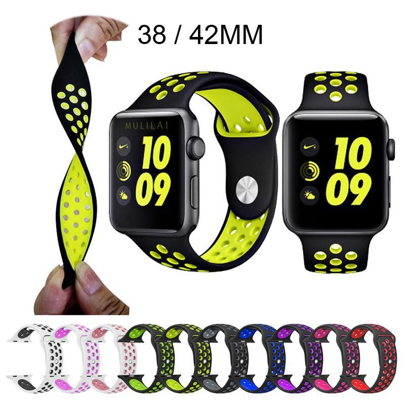 Apple Watch Sport Bands 9 Colors With Light Flexible Breathable Silicone Strap(Series 3 2 1, 38/42MM)