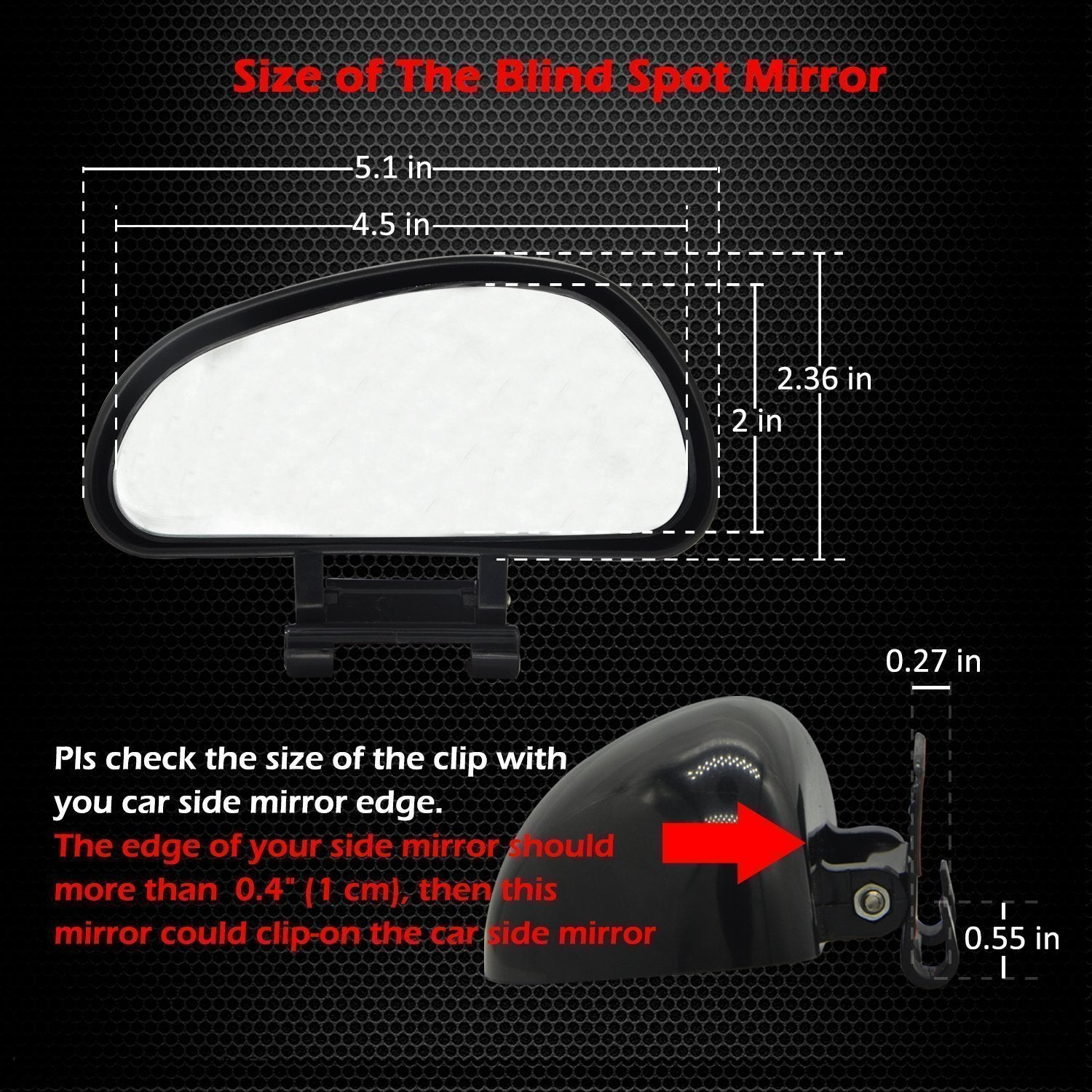 Blind Spot Mirror, Convex Rear View Add On Wide Angle Glass Mirror for Car, Truck