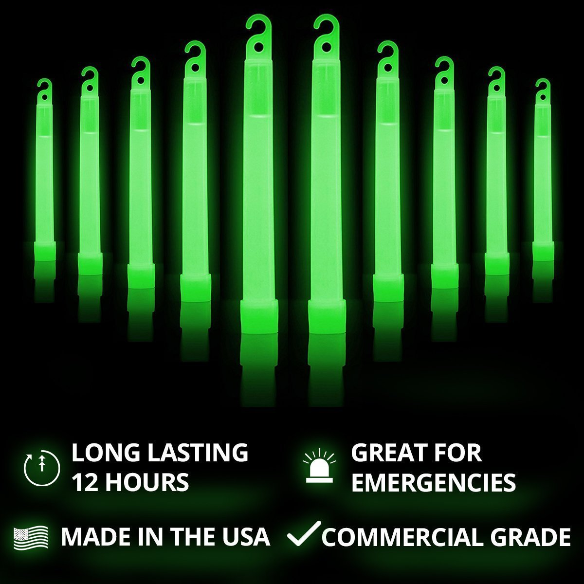 "6"" Ultra Bright Emergency Light Sticks with +12 Hours Duration (Green)"