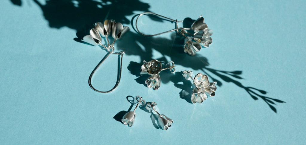 Collection of sterling silver earrings by Brave Edith