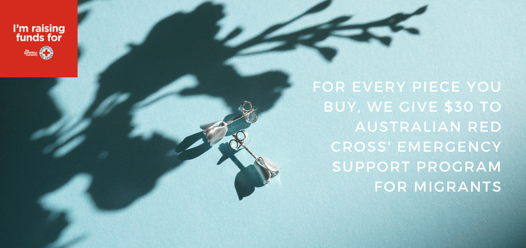 Earrings with $30 from every piece of jewellery sold is donated to Australian Red Cross