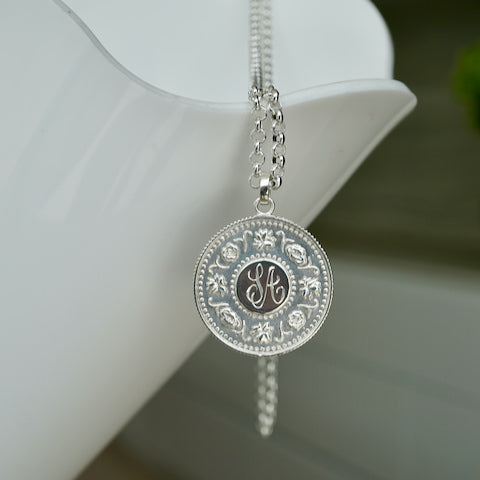 Precious coin pendant in sterling silver by Brave Edith