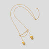 gold precious buckets necklace on white background