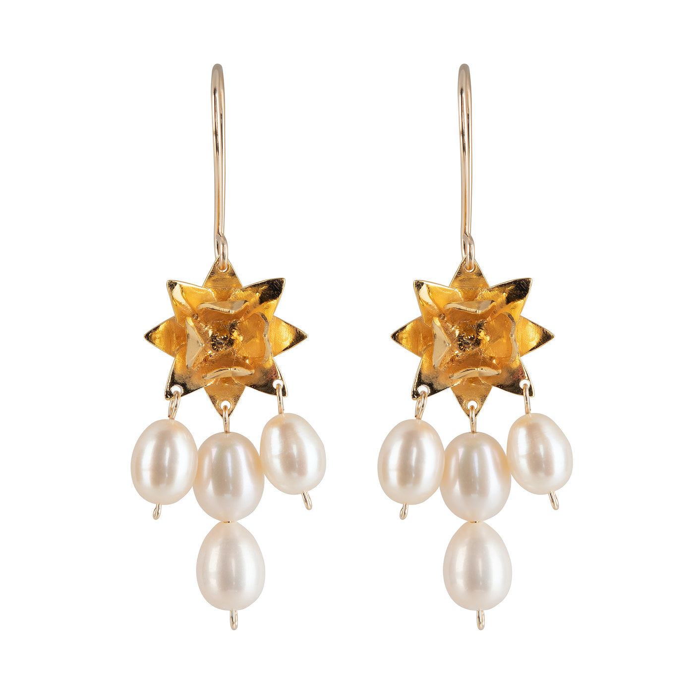 LOTUS DAWN PEARL EARRINGS - GOLD