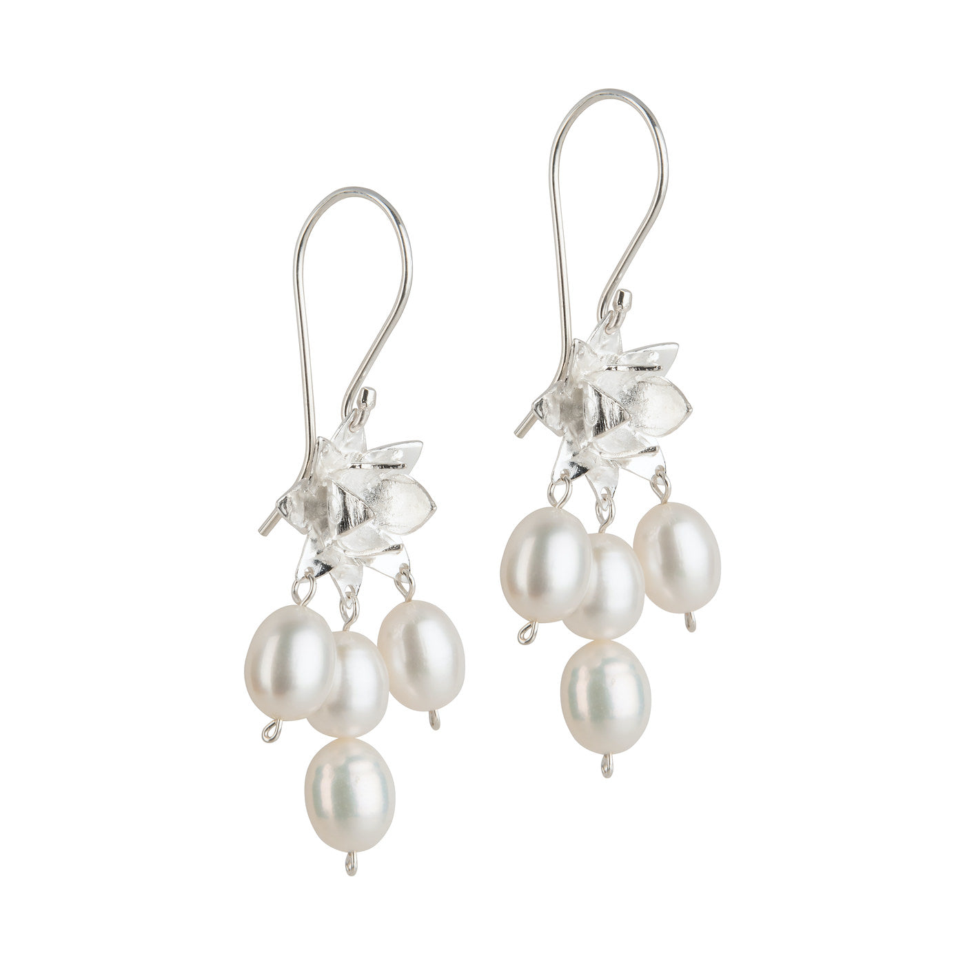 LOTUS DAWN PEARL EARRINGS - SILVER