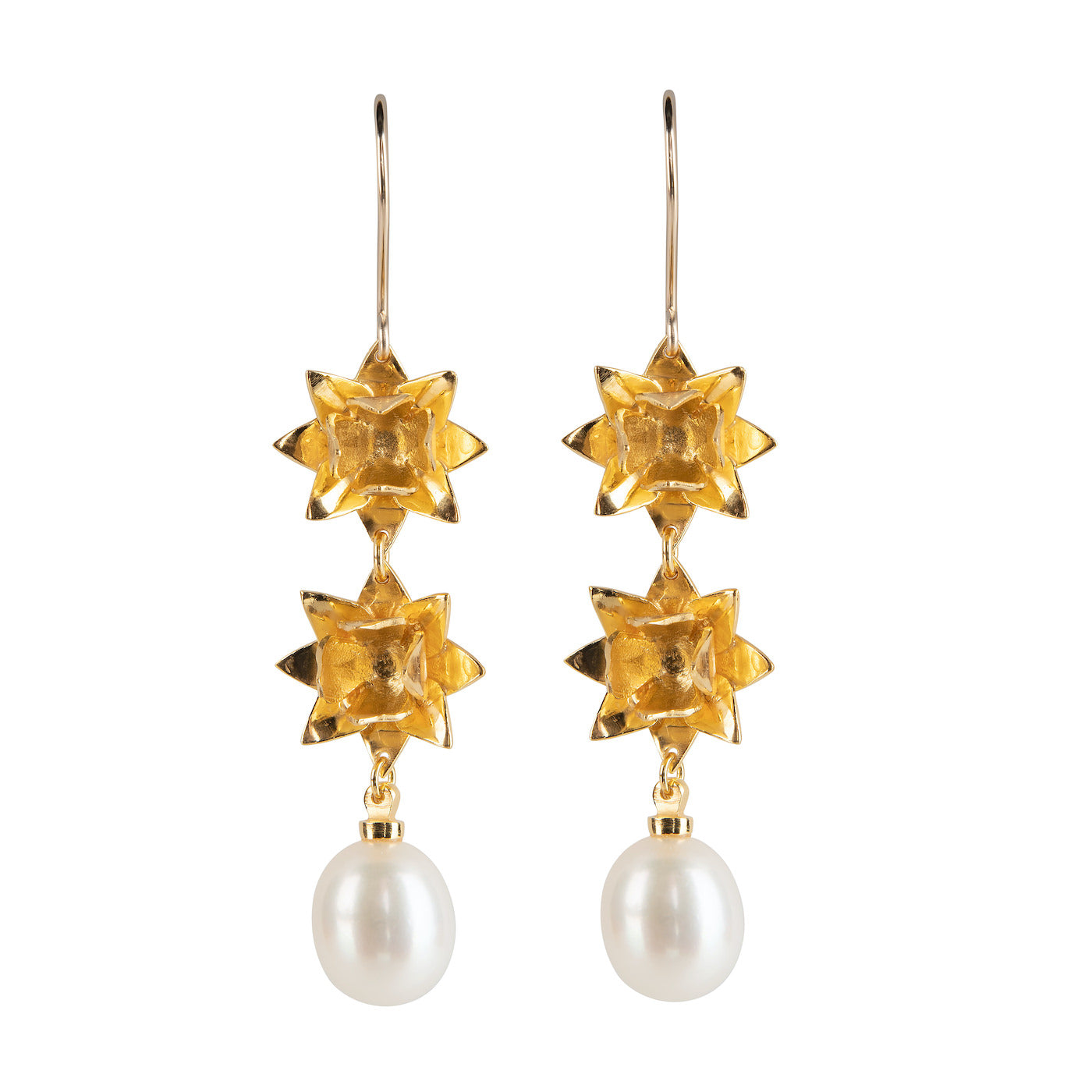 DOUBLE LOTUS PEARL HOOK EARRINGS - GOLD