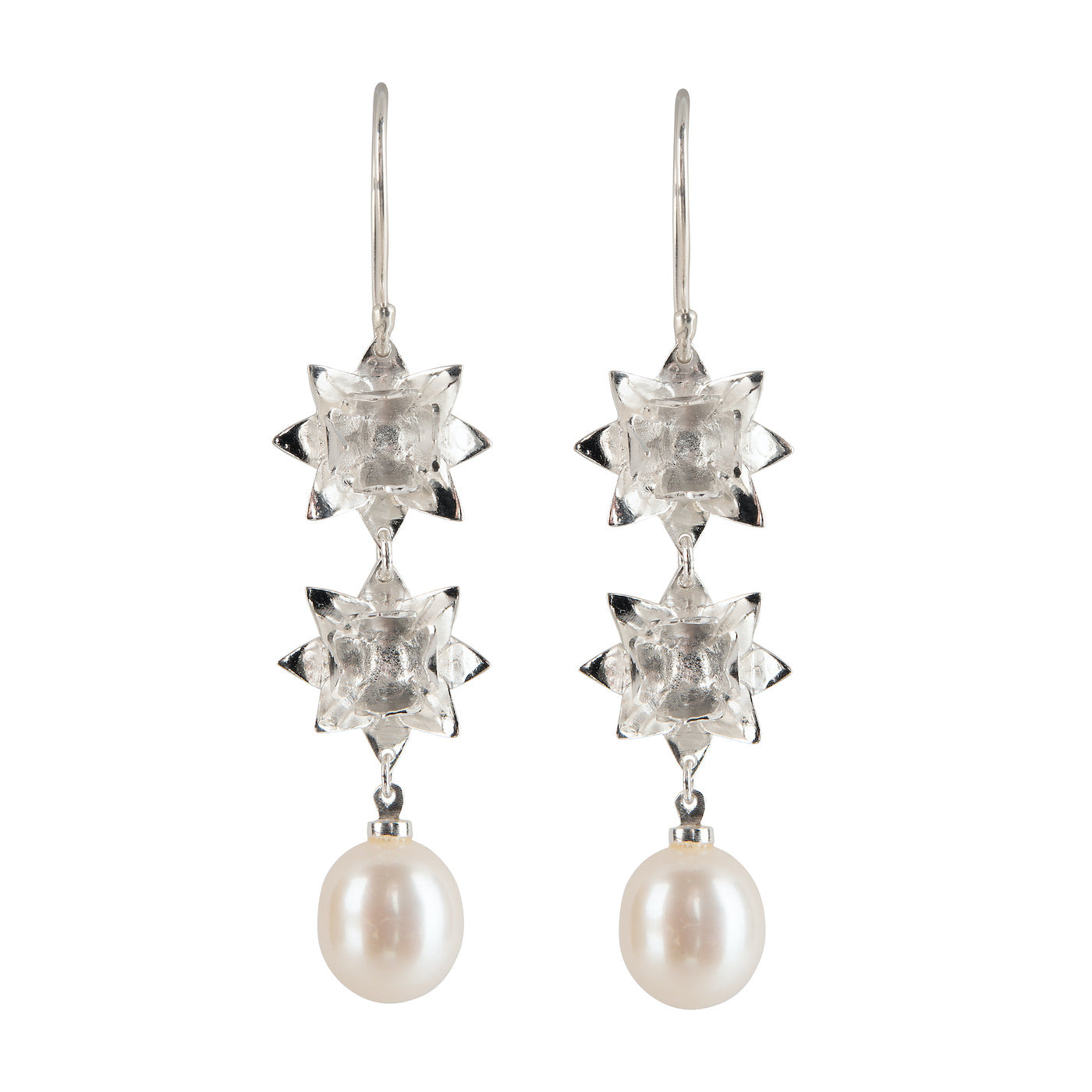 DOUBLE LOTUS PEARL HOOK EARRINGS - SILVER