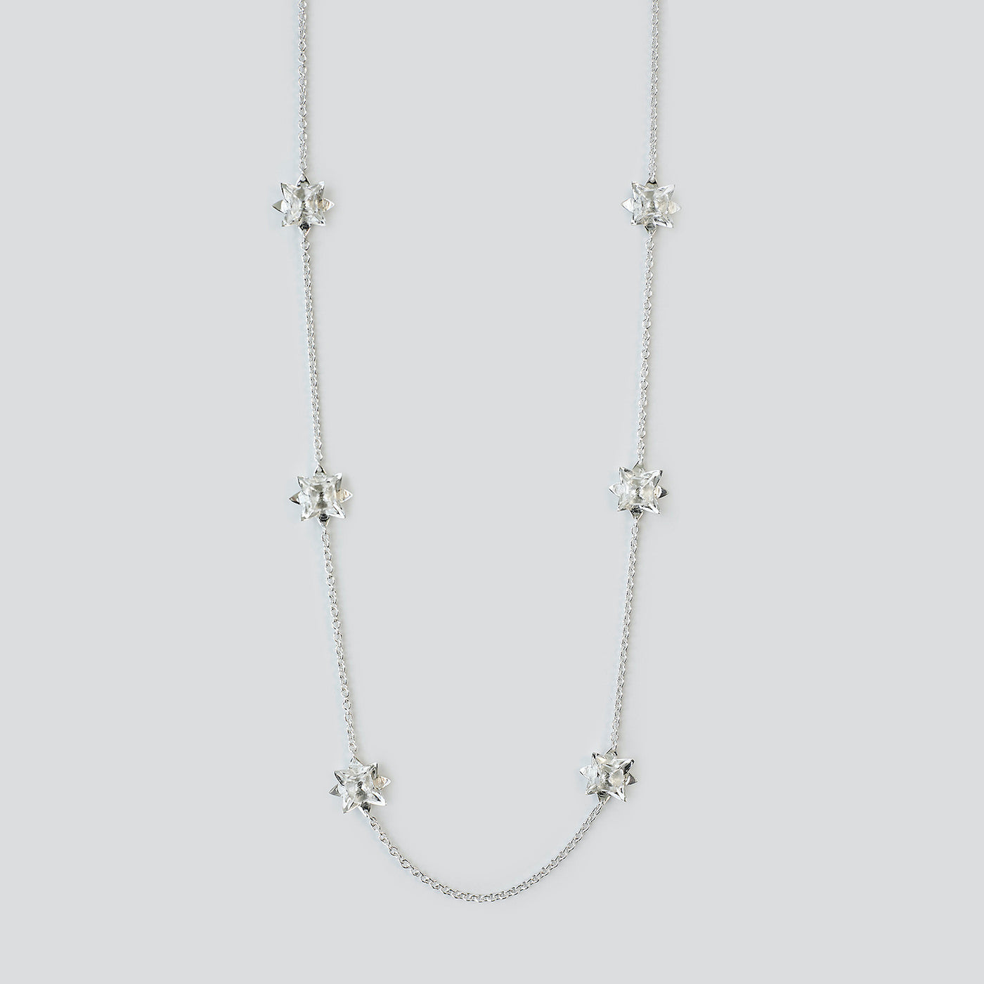 Close of sterling silver Long Lotus Necklace by Brave Edith